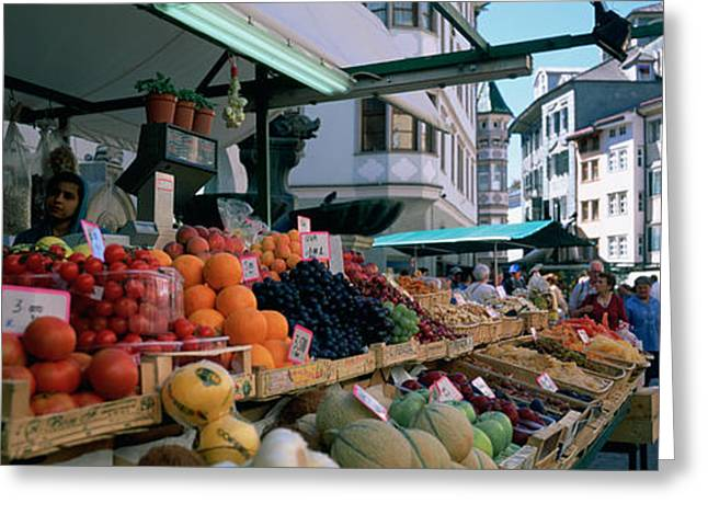 Fruit Stand Greeting Cards - Group Of People In A Street Market Greeting Card by Panoramic Images