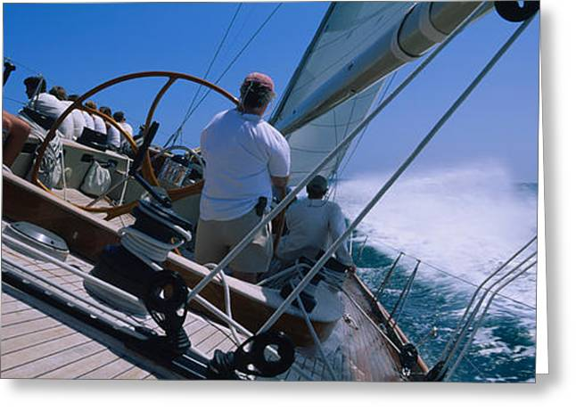 Sailboat Images Greeting Cards - Group Of People Racing In A Sailboat Greeting Card by Panoramic Images