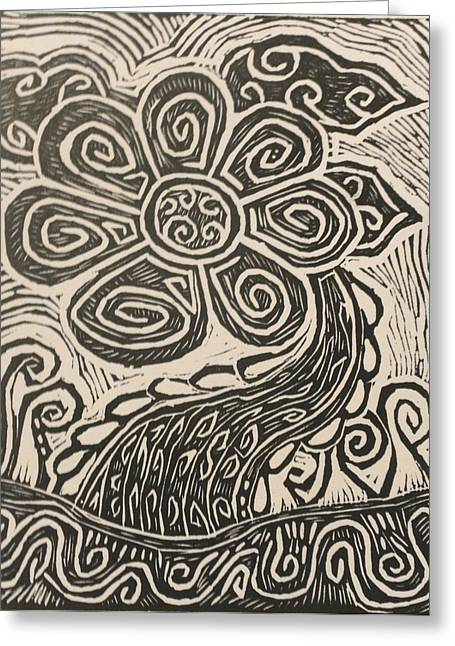 Linocut Drawings Greeting Cards - Grow into the light Greeting Card by Stephen Wiggins