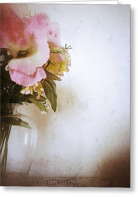 Interior Still Life Digital Greeting Cards - Grunge Flowers 4 Greeting Card by Isabella Abbie Shores