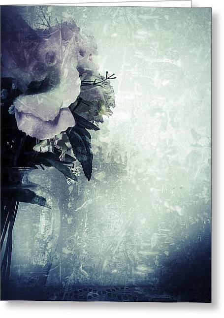 Interior Still Life Digital Greeting Cards - Grunge Flowers 2 Greeting Card by Isabella Abbie Shores