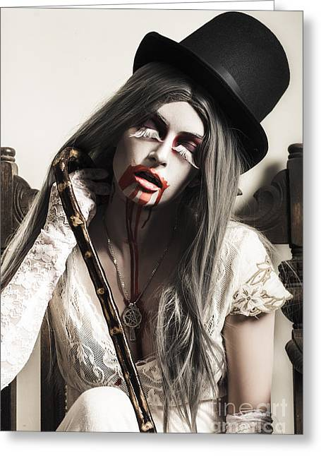 Grunge Ghost Girl With Blood Mouth. Dark Fine Art Greeting Card by Jorgo Photography - Wall Art Gallery