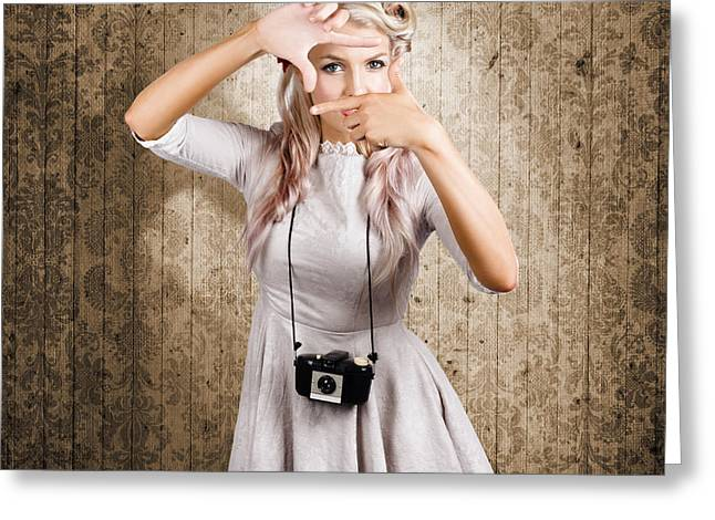 Creative Photography Pictures Greeting Cards - Grunge girl with retro film camera concept framing Greeting Card by Ryan Jorgensen