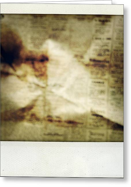 Words Photographs Greeting Cards - Grunge newspaper Greeting Card by Les Cunliffe