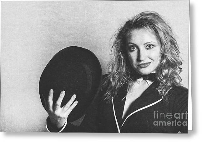Grunge Photo Of Female Cabaret Performer Greeting Card by Jorgo Photography - Wall Art Gallery