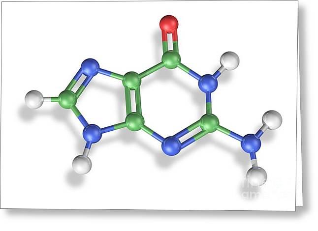 Nucleic Acid Greeting Cards - Guanine Molecule, Artwork Greeting Card by Carlos Clarivan