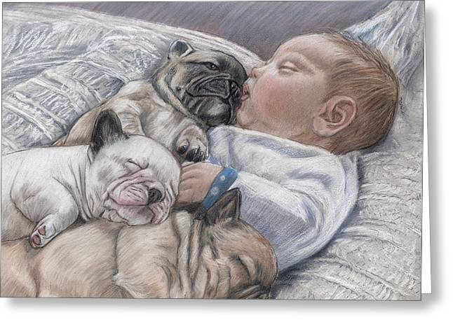 Puppies Pastels Greeting Cards - Guardian Angles Greeting Card by Ellen Lyner