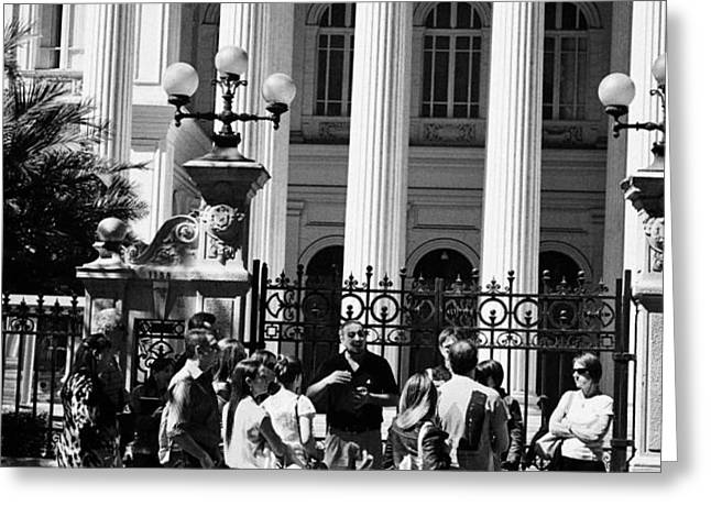 guided tour group outside the former national congress building Santiago Chile Greeting Card by Joe Fox