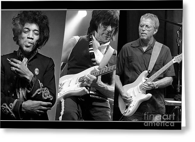 Jeff Mixed Media Greeting Cards - Guitar Legends Jimi Hendrix Jeff Beck and Eric Clapton Greeting Card by Marvin Blaine