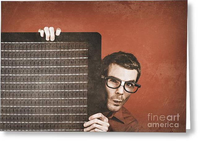 Setup Greeting Cards - Guitarist man performing stage sound check Greeting Card by Ryan Jorgensen