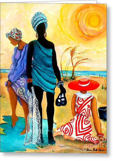St. Helena Island Greeting Cards - Gullah-Creole Trio  Greeting Card by Diane Britton Dunham