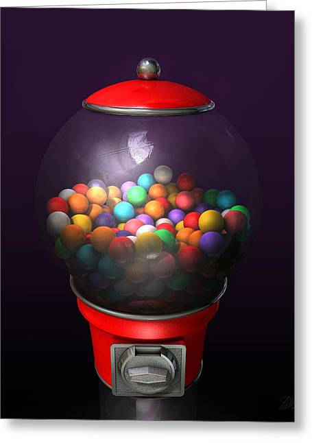 Bubble Gum Gumballs Gumball Machine Greeting Cards - Gumball Dispensing Machine Dark Greeting Card by Allan Swart