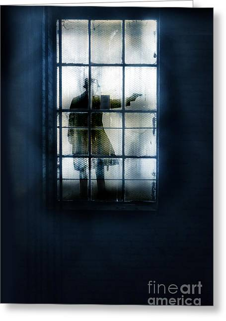 Gunman Greeting Cards - Gunman Through Warehouse Window Greeting Card by Jill Battaglia