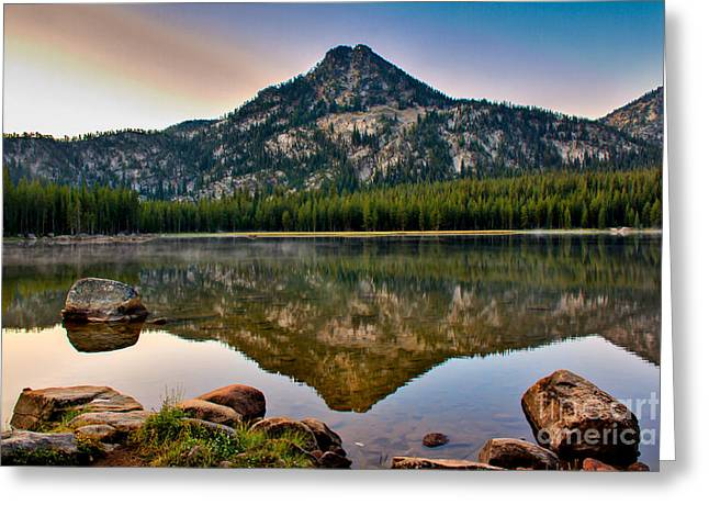 Haybale Greeting Cards - Gunsight Mountain Reflection Greeting Card by Robert Bales
