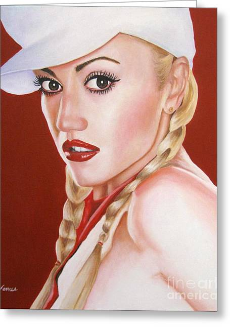Famous Artist Greeting Cards - Gwen Stefani  Greeting Card by Venus