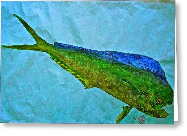 Marlin Tournaments Greeting Cards - Gyotaku - Mahi Mahi - Dorado - Dolphinfish Greeting Card by Jeffrey Canha
