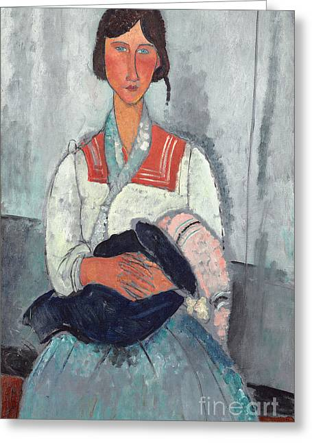Clasped Greeting Cards - Gypsy Woman with Baby Greeting Card by Amedeo Modigliani