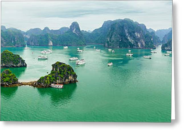 China Beach Greeting Cards - Ha Long Bay in Vietnam Greeting Card by Perfect Lazybones