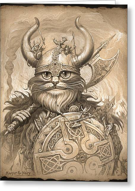 Vikings Greeting Cards - Haagar the Hairy Greeting Card by Jeff Haynie
