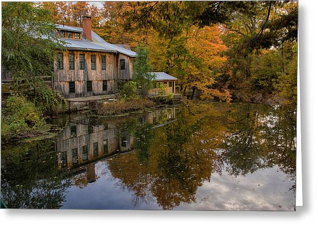 Grist Mill Greeting Cards - Hadley upper mill in autumn Greeting Card by Jeff Folger