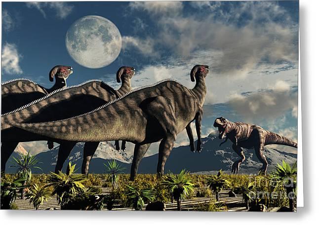 Large Moon Greeting Cards - Hadrosaurid Duckbill Dinosaurs Use Greeting Card by Mark Stevenson