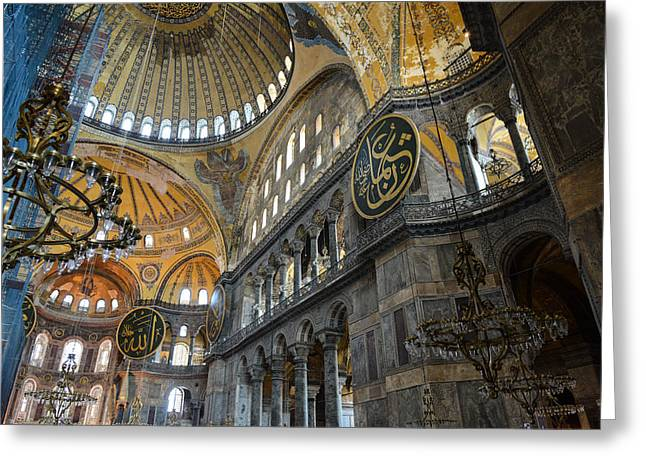 Haghia Sophia Mosque Greeting Cards - Hagia Sophia in Istanbul Turkey Greeting Card by Brandon Bourdages