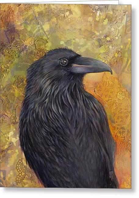 Crows Framed Prints Greeting Cards - Haida Gwaii Raven Greeting Card by Darlene Fletcher