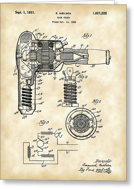 Trimmings Greeting Cards - Hair Dryer Patent 1929 - Vintage Greeting Card by Stephen Younts