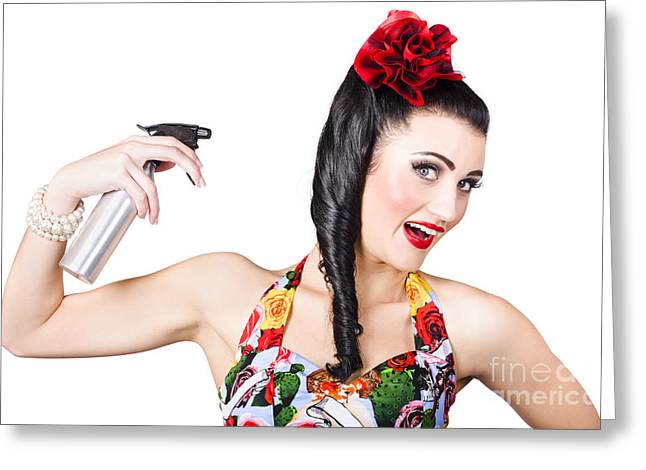 Straight Hair Greeting Cards - Haircare. Brunette pinup woman using hair product Greeting Card by Ryan Jorgensen
