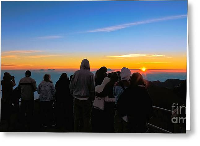 Photogaph Greeting Cards - Haleakala Crater Sunrise Greeting Card by Frank Wicker
