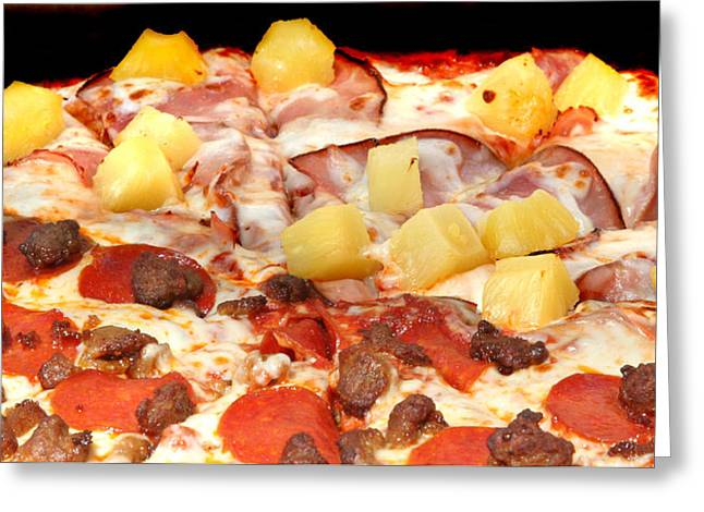Take-out Greeting Cards - Half and Half Pizza Greeting Card by John Orsbun