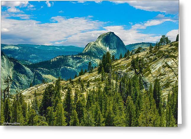 Monolith Greeting Cards - Half Dome Yosemite National Park Greeting Card by  Bob and Nadine Johnston