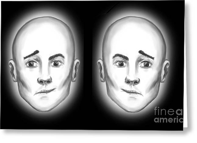 Opinion Greeting Cards - Half Faces Illusion Greeting Card by Spencer Sutton