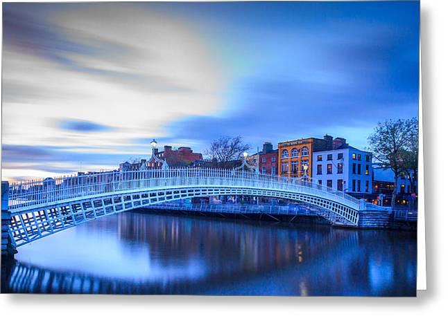 Sunset Prints Of Ireland Greeting Cards - Half Penny Bridge  Greeting Card by John Hurley
