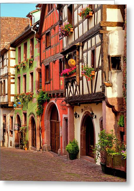 Half-timbered Buildings On Rue Du Greeting Card by Brian Jannsen