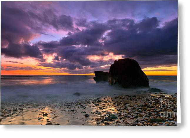 Rocky Shorelines Greeting Cards - Hallett Cove Sunset  Greeting Card by Bill  Robinson