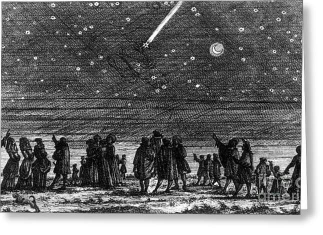 Halley Greeting Cards - Halleys Comet, 1682 Greeting Card by Science Source