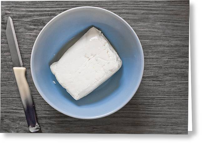 Blade Greeting Cards - Halloumi Cheese Greeting Card by Tom Gowanlock