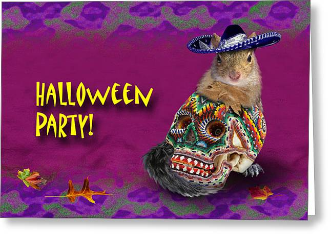 Party Invite Greeting Cards - Halloween Party Squirrel Greeting Card by Jeanette K
