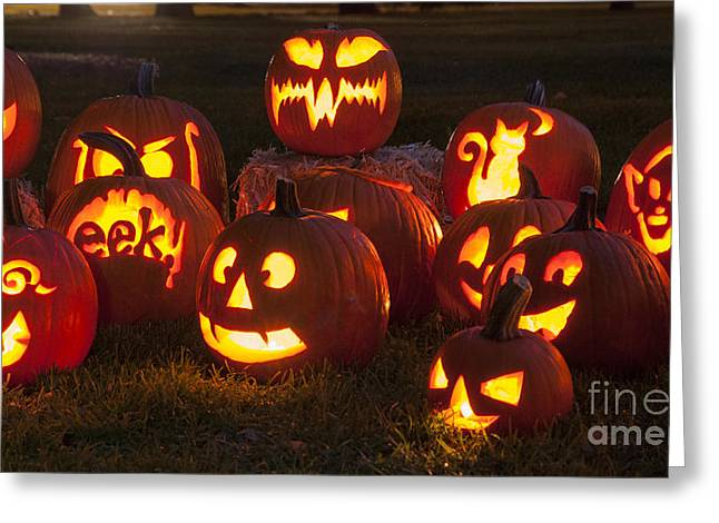 Glowing Greeting Cards - Halloween Pumpkins Greeting Card by Juli Scalzi