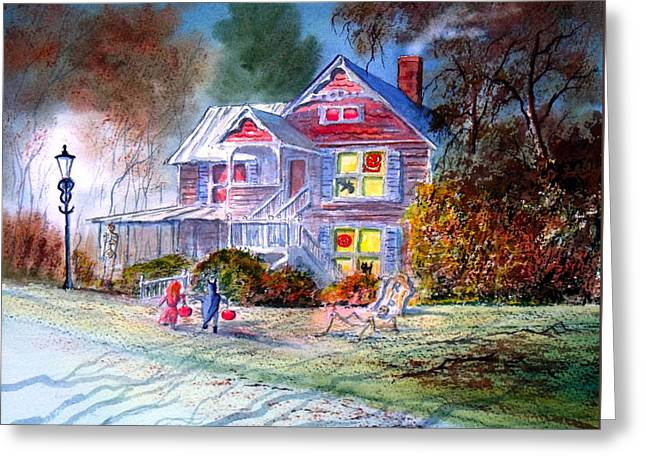 Haunted House Paintings Greeting Cards - Halloween Trick Or Treat Greeting Card by Bill Holkham