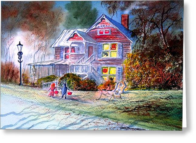 """haunted House"" Paintings Greeting Cards - Halloween Trick Or Treat Greeting Card by Bill Holkham"