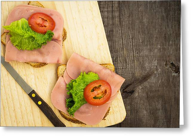 Delis Greeting Cards - Ham Sandwiches Greeting Card by Aged Pixel