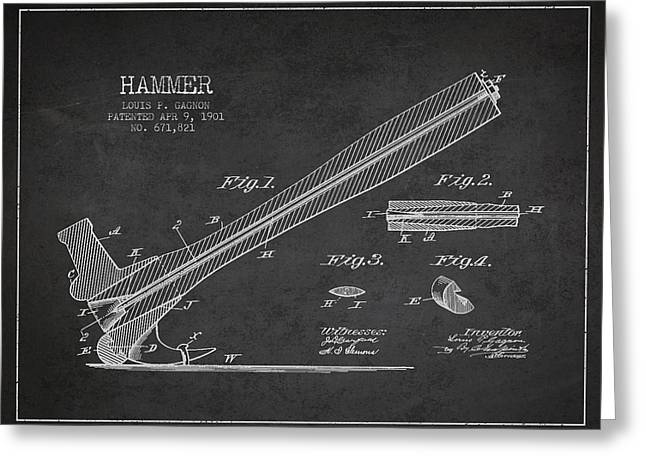Bedroom Art Greeting Cards - Hammer Patent Drawing from 1901 Greeting Card by Aged Pixel