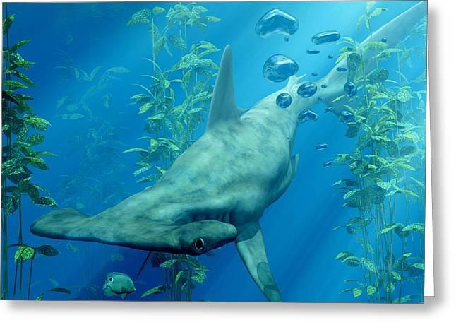 Hammerhead Sharks Greeting Cards - Hammerhead Art Greeting Card by Daniel Eskridge