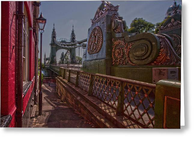 Chelsea Greeting Cards - Hammersmith Thames Bridge Greeting Card by David French