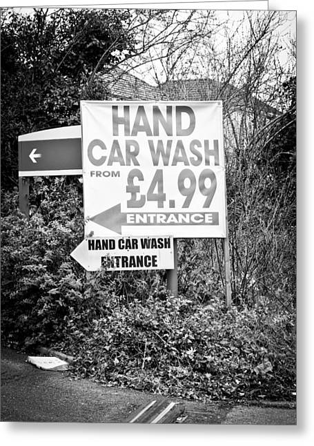 Advertise Greeting Cards - Hand car wash Greeting Card by Tom Gowanlock