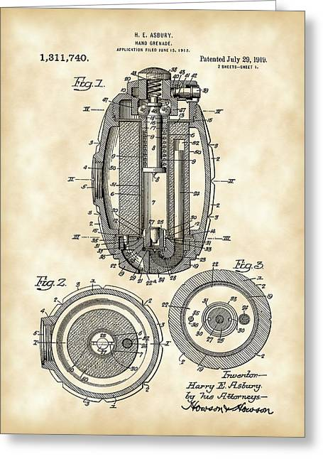 Fragmentation Greeting Cards - Hand Grenade Patent 1917 - Vintage Greeting Card by Stephen Younts
