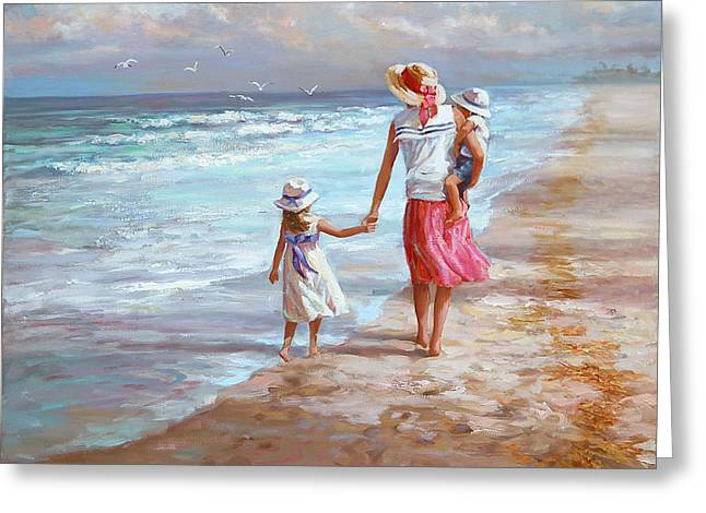 Hand In Hand Greeting Card by Laurie Hein