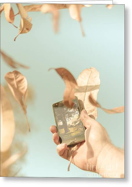 Smartphone Greeting Cards - Hand of man with smart phone technology in nature Greeting Card by Ryan Jorgensen